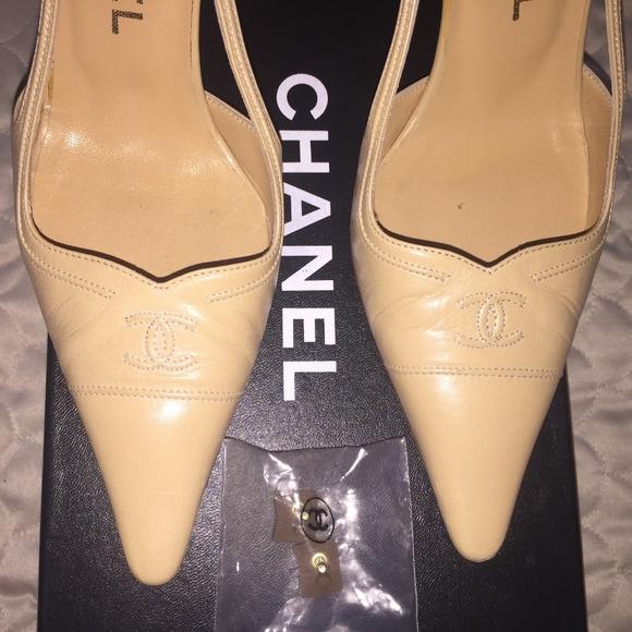 b14ed45e195 CHANEL Shoes - CHANEL SLING BACK BEIGE WITH CC ON TOE SZ 37 HEEL